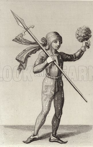 Man from Nuremberg carrying a spear, 16th Century. Illustration for Bilder-Atlas, Ikonographische Encyklopädie der Wissenschaften und Künste (Brockhaus, 1875).