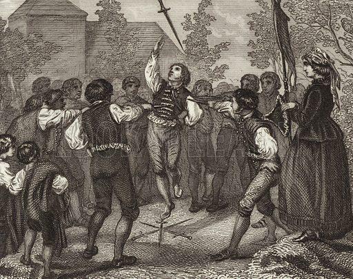 Sword dance, Dithmarschen, Schleswig-Holstein. Illustration for Bilder-Atlas, Ikonographische Encyklopädie der Wissenschaften und Künste (Brockhaus, 1875).