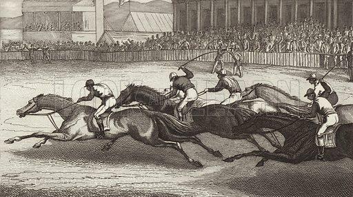 Horse racing in England. Illustration for Bilder-Atlas, Ikonographische Encyklopädie der Wissenschaften und Künste (Brockhaus, 1875).