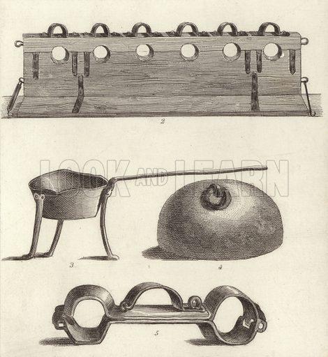 Instruments of punishment and torture. Illustration for Bilder-Atlas, Ikonographische Encyklopädie der Wissenschaften und Künste (Brockhaus, 1875).