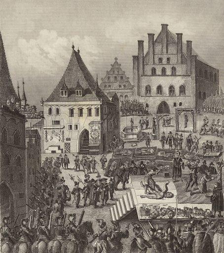 Execution of Czech Protestant rebel leaders in Prague, 1621. Illustration for Bilder-Atlas, Ikonographische Encyklopädie der Wissenschaften und Künste (Brockhaus, 1875).