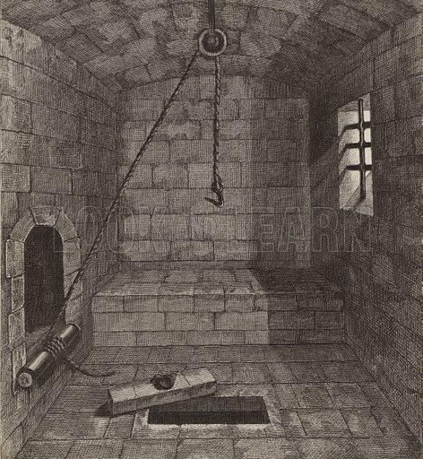 Torture chamber, 14th Century. Illustration for Bilder-Atlas, Ikonographische Encyklopädie der Wissenschaften und Künste (Brockhaus, 1875).