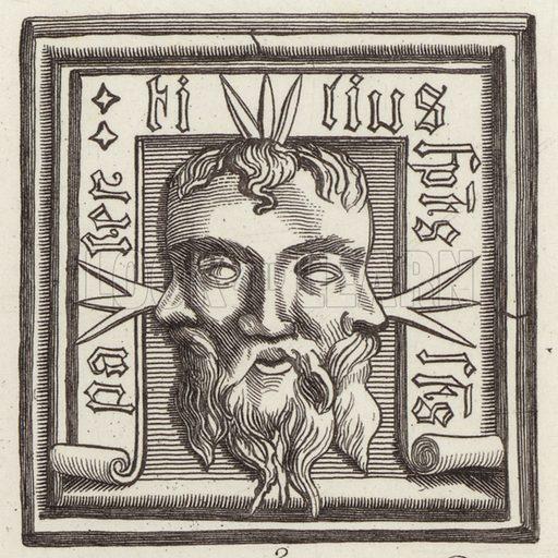 Amulet. Illustration for Bilder-Atlas, Ikonographische Encyklopädie der Wissenschaften und Künste (Brockhaus, 1875).