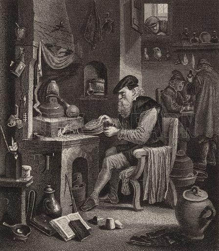 Alchemist at work. Illustration for Bilder-Atlas, Ikonographische Encyklopädie der Wissenschaften und Künste (Brockhaus, 1875).