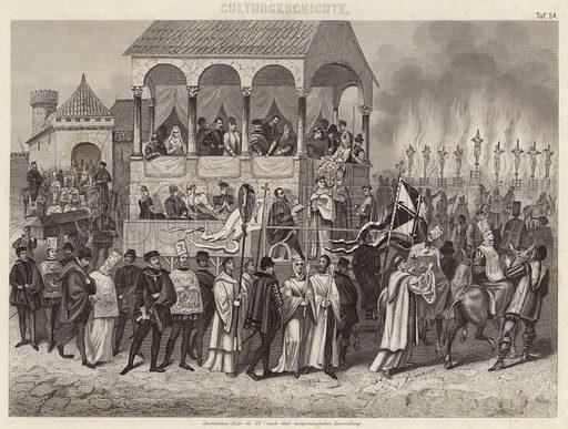 Spanish auto-da-fe: execution of convicted heretics under the Inquisition. Illustration for Bilder-Atlas, Ikonographische Encyklopädie der Wissenschaften und Künste (Brockhaus, 1875).