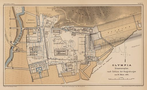 Archeological map of Olympia.  Illustration for Olympia by Adolf Boetticher (Julius Springer, 1886).