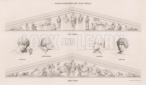 Sculptures from the pediments of the Temple of Zeus, Olympia, Greece. Illustration for Olympia by Adolf Boetticher (Julius Springer, 1886).