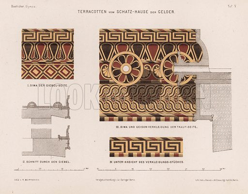 Terracotta decorations from the Treasury of Gela, Olympia, Greece. Illustration for Olympia by Adolf Boetticher (Julius Springer, 1886).