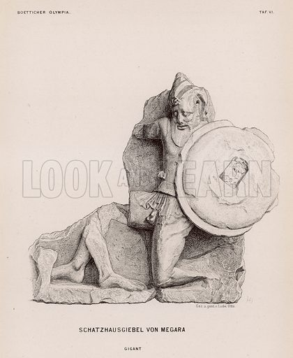 Figure of a giant from the pediment of the Treasury of Megara, Olympia, Greece. Illustration for Olympia by Adolf Boetticher (Julius Springer, 1886).