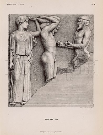 Atlas bringing Heracles the Apples of the Hesperides in the presence of Athena, metope from the Temple of Zeus, Olympia, Greece. Illustration for Olympia by Adolf Boetticher (Julius Springer, 1886).
