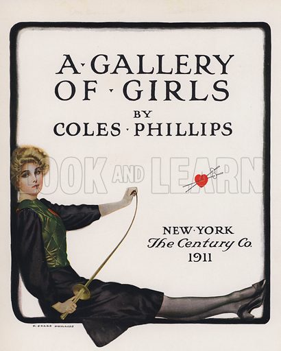 Frontispiece.  Illustration for A Gallery of Girls by Coles Phillips (New York, The Century Co, 1911).