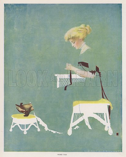 Home Ties. Illustration for A Gallery of Girls by Coles Phillips (New York, The Century Co, 1911).