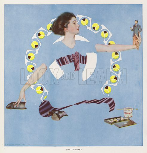 Idol Industry. Illustration for A Gallery of Girls by Coles Phillips (New York, The Century Co, 1911).