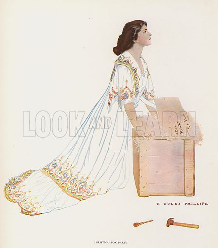 Christmas Box Party. Illustration for A Gallery of Girls by Coles Phillips (New York, The Century Co, 1911).