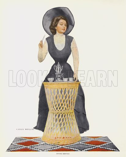Divine Service. Illustration for A Gallery of Girls by Coles Phillips (New York, The Century Co, 1911).