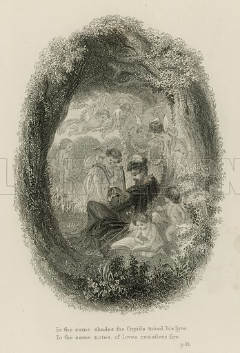 Scene from Windsor Forest, by Alexander Pope. Illustration from the Poetical Works of Alexander Pope (Gall & Inglis, Edinburgh, c1880).