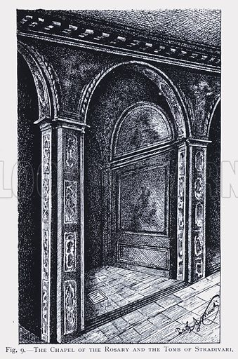 Chapel of the Rosary and tomb of Italian musical instrument maker Antonio Stradivari, Cremona, Italy. Illustration from Antonio Stradivari His Life and Work (1644-1737) by W Henry Hill, Arthur F Hill and Alfred E Hill (MacMillan and Co, Limited, London, 1909).