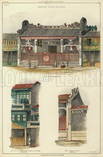 Chinese architecture: details of buildings in Canton and Macao.