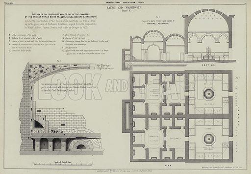 Roman baths, Basel, Switzerland, and baths at Bergamo, Asia Minor.