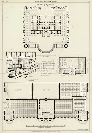Roman baths of Diocletian, Rome, and of Pompeii.