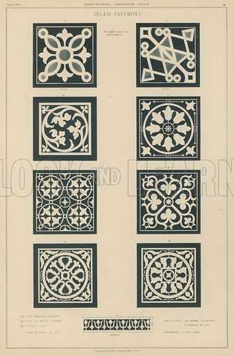 Examples of inlaid pavement from the Baptistery and the Basilica of San Miniato al Monte, Florence, and the Cathedral of Lucca, Italy.