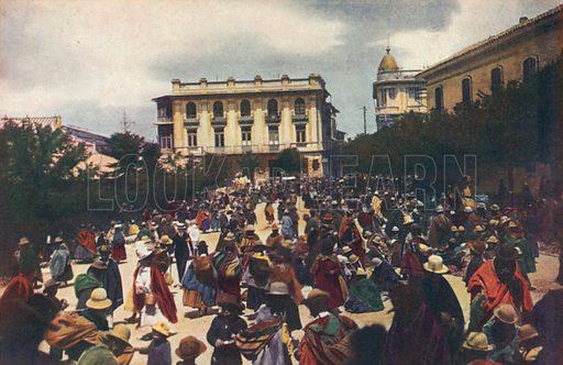 Sunday market, Plaza San Francisco, La Paz, Bolivia. Illustration from Commercial Encyclopedia, South America and Cuba (Globe Encyclopedia Company, London, 1924).