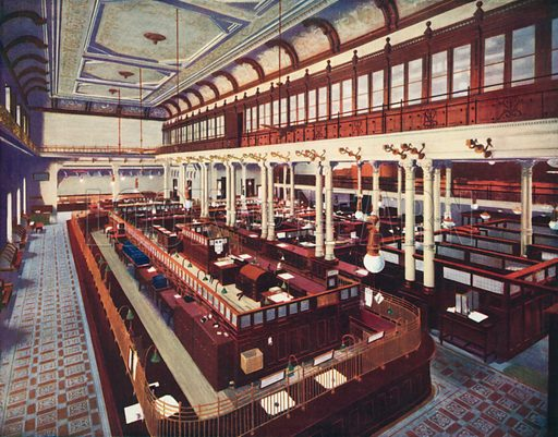 Banking hall, Bank of London and South America, Buenos Aires, Argentina. Illustration from Commercial Encyclopedia, South America and Cuba (Globe Encyclopedia Company, London, 1924).