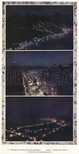 Rio de Janeiro, Brazil, at night. Illustration from Commercial Encyclopedia, South America and Cuba (Globe Encyclopedia Company, London, 1924).