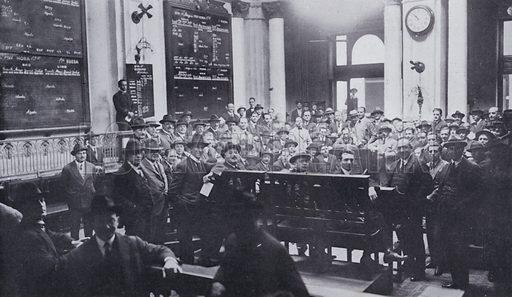 Meeting of brokers in progress in the Bolsa de Comercio del Rosario, Argentina. Illustration from Commercial Encyclopedia, South America and Cuba (Globe Encyclopedia Company, London, 1924).