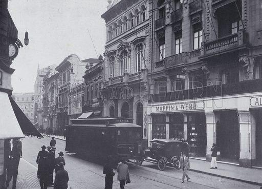 Mappin & Webb store on the Rua 15 de Novembro, Sao Paulo, Brazil. Illustration from Commercial Encyclopedia, South America and Cuba (Globe Encyclopedia Company, London, 1924).