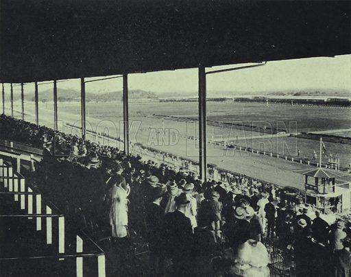 Racecourse from the grandstand, Oriental Park, Havana, Cuba. Illustration from Commercial Encyclopedia, South America and Cuba (Globe Encyclopedia Company, London, 1924).