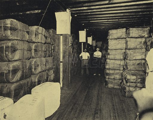 Tobacco leaf ready for shipment in a warehouse, Havana, Cuba. Illustration from Commercial Encyclopedia, South America and Cuba (Globe Encyclopedia Company, London, 1924).