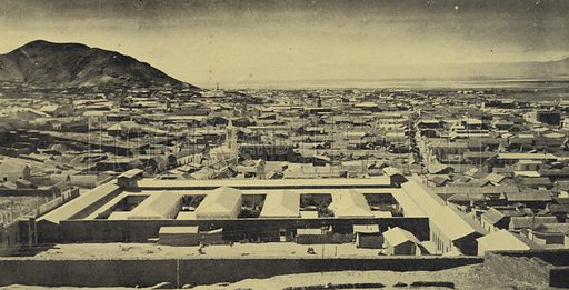 Oruro, Bolivia, from the south, with the Municipal Hospital in the foreground. Illustration from Commercial Encyclopedia, South America and Cuba (Globe Encyclopedia Company, London, 1924).