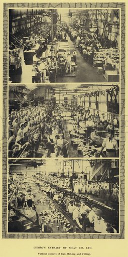 Can making and filling, factory of the Liebig Extract of Meat Company, Ltd, Argentina. Illustration from Commercial Encyclopedia, South America and Cuba (Globe Encyclopedia Company, London, 1924).