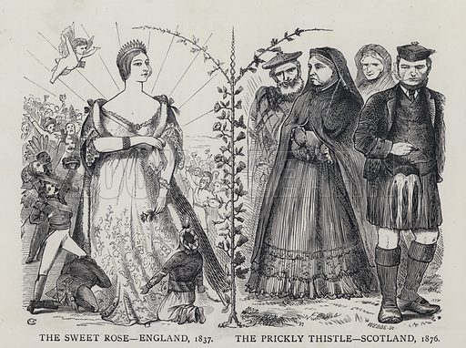 The Sweet Rose - England, 1837: the Prickly Thistle, Scotland, 1876. Illustration from Edward the Seventh - a Play (London, 1876).