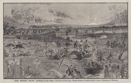 The Money Hunt: Incidents on the Road; The Fun of the Fair; Break-downs; Cheats on the Course; Rookery of Thieves. Illustration from Edward the Seventh - a Play (London, 1876).