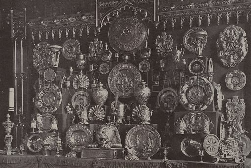 Part of the King's collection of gold plate at Windsor Castle, including the gold dinner service brought to Buckingham Palace to be displayed (but not used) at the Jubilee State Banquets. Illustration from The Illustrated London News, 11 May 1935.