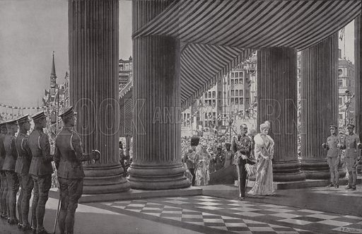 King George V and Queen Mary arriving at St Paul's Cathedral, London, for the service commemorating the King's Silver Jubilee, 1935. Illustration from The Sphere, 11 May 1935.