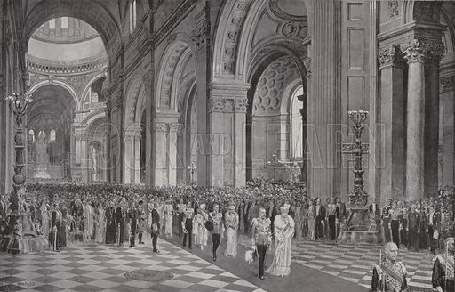 King George V and Queen Mary leaving at St Paul's Cathedral, London, after the service commemorating the King's Silver Jubilee, 1935. Illustration from The Sphere, 11 May 1935.