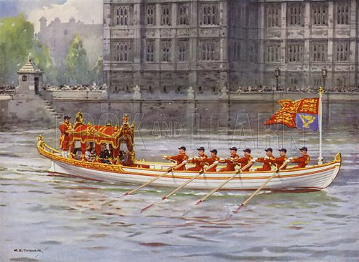 King George V and Queen Mary on board the State Barge on the Thames passing the Palace of Westminster during the King's Silver Jubilee celebrations, London, 1935. Illustration from The Queen, 8 May 1935.