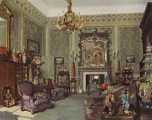 Queen Mary's Chinese Chippendale Room, Buckingham Palace, London. Illustration from The Queen, 8 May 1935.