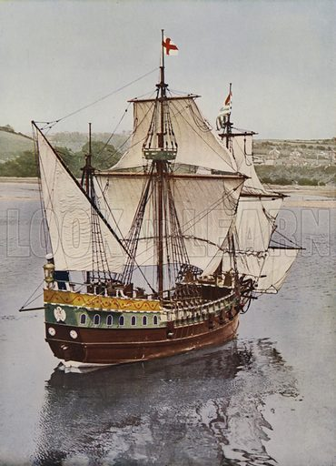 Half scale model of the Golden Hind, the ship on which Sir Francis Drake circumnavigated the world in 1577–1580, 1935. Illustration from The Ilustrated London News, 20 July 1935.