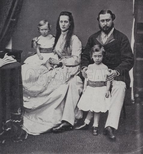 The Prince and Princess of Wales, later King Edward VII and Queen Alexandra, with their sons, Princes Albert and George, Buckingham Palace, London, 1867. Illustration from The Sphere, 4 May 1935.