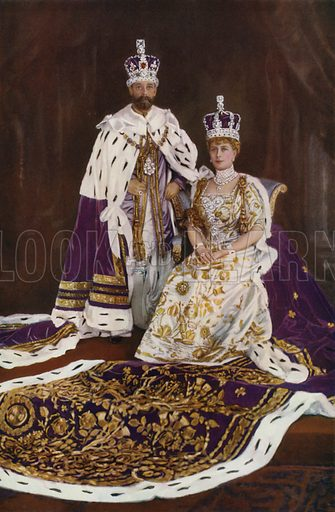 King George V and Queen Mary at the start of their reign, 1911. Illustration from The Illustrated London News, Silver Jubilee Record Number, King George V and Queen Mary, 1935.
