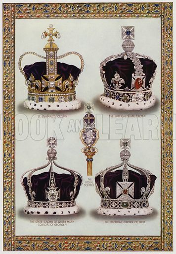 British royal crowns and sceptre. Illustration from The Illustrated London News, Silver Jubilee Record Number, King George V and Queen Mary, 1935.