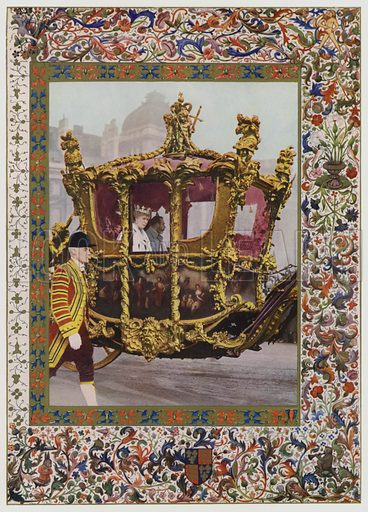 King George V and Queen Mary riding in the State Coach. Illustration from The Illustrated London News, Silver Jubilee Record Number, King George V and Queen Mary, 1935.