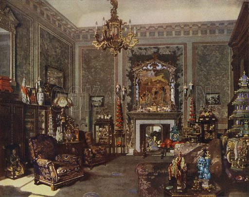 Queen Mary's Chinese Chippendale Room, Buckingham Palace, London. Illustration from The Illustrated London News, Silver Jubilee Record Number, King George V and Queen Mary, 1935.