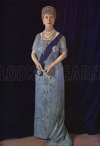 Queen Mary, consort of King George V, 1935. Illustration from The Illustrated London News, Silver Jubilee Record Number, King George V and Queen Mary, 1935.