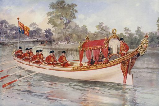 King George V and Queen Mary on the Thames on board the State Barge, visiting Henley Regatta, 1912. Illustration from The Illustrated London News, Silver Jubilee Record Number, King George V and Queen Mary, 1935.