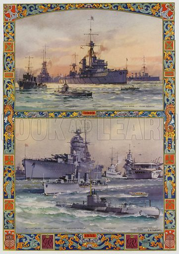 Types of British warships in 1910 and 1935. Illustration from The Illustrated London News, Silver Jubilee Record Number, King George V and Queen Mary, 1935.